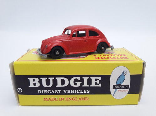 BUDGIE TOYS DIECAST METAL MODEL MADE IN ENGLAND VW BEETLE NO.8 VOLKSWAGEN SALOON CAR 1:76 SCALE METALLIC RED