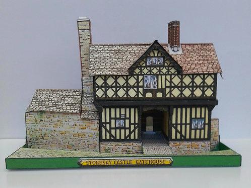 A5 FULL COLOUR CARD MODEL KIT STOKESAY CASTLE GATEHOUSE SHROPSHIRE CRAVEN ARMS FAMOUS HISTORIC BUILDINGS