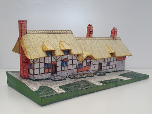 A5 FULL COLOUR CARD MODEL KIT SHAKESPEARE ANNE HATHAWAY'S COTTAGE STRATFORD UPON AVON FAMOUS HISTORIC BUILDINGS