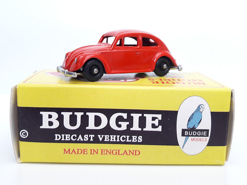 BUDGIE TOYS DIECAST METAL MODEL MADE IN ENGLAND VW BEETLE NO.8 VOLKSWAGEN SALOON CAR 1:76 SCALE RED