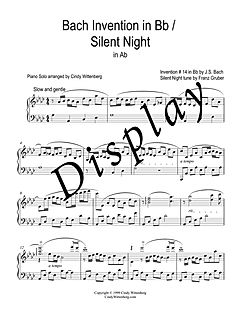 SILENT NIGHT BACH PIANO SOLO DISPLAY PAG
