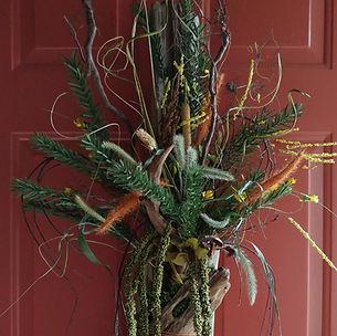 fall door arrangement with driftwood by