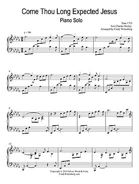 Come Thou Long Expected Jesus piano solo