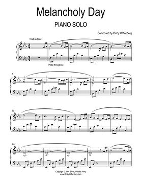 Melancholy Day Piano Solo page one by Ci