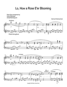 LO HOW A ROSE Piano Solo page one key of