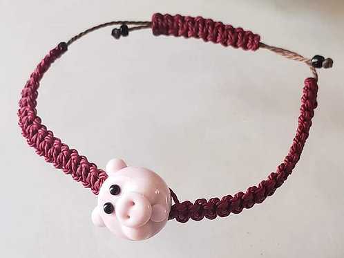 Glass Pig Braided Bracelet