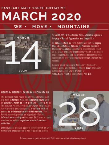 EMYI March 2020 Calendar of Events