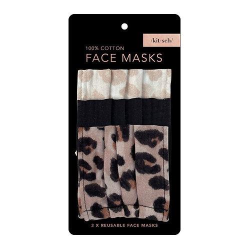 Cotton Face Mask (3pc Set) - Leopard