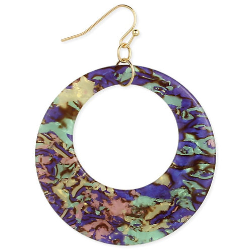 Marbled Magic Round Resin Dangle Earrings