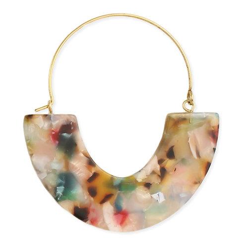 Modern Marbled Resin Hoop Earrings