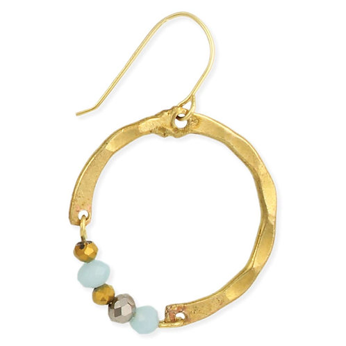 Luxurious Accents Gold Hammered Circle Earring