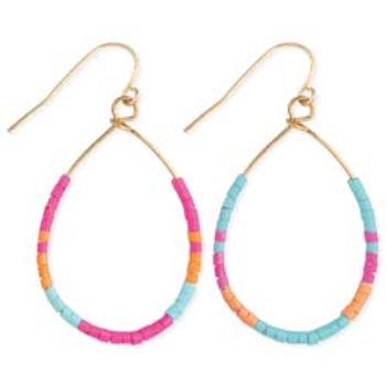Beachy Brights Beaded Wire Teardrop Earrings