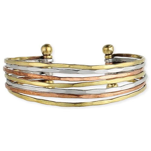 Mixed Metal Hammered Cuff Bracelet