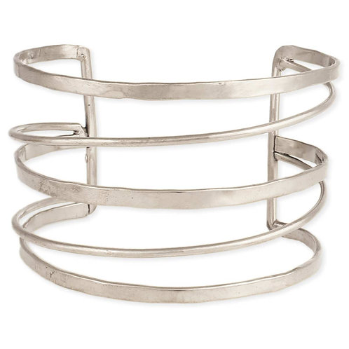 Silver Hammered & Smooth Lined Cuff Bracelet