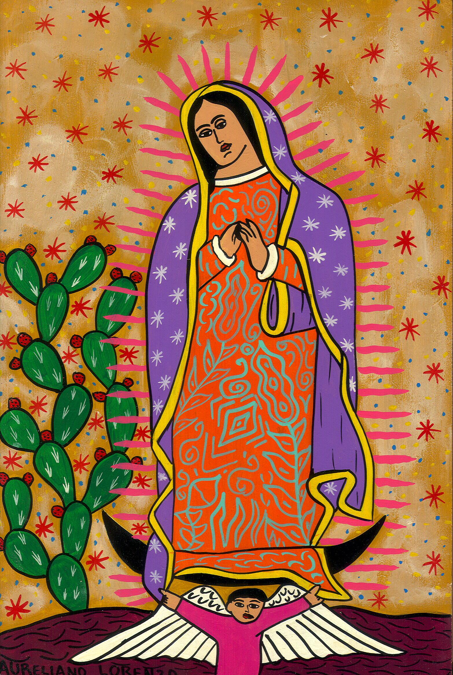 Guadalupe con Traje lila