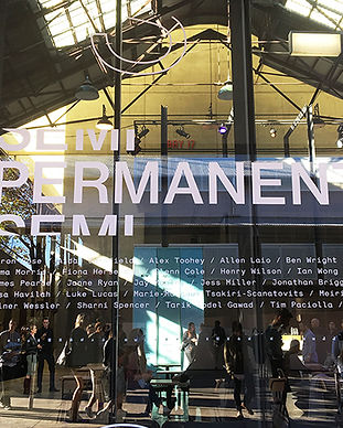 Sign writing for Semi Permanent on the glass windows out the front of Carriageworks in Sydney