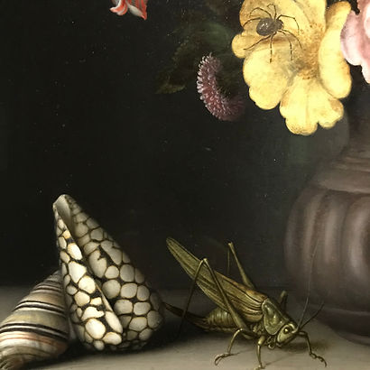 Painting of flowers wih a grasshopper and spider