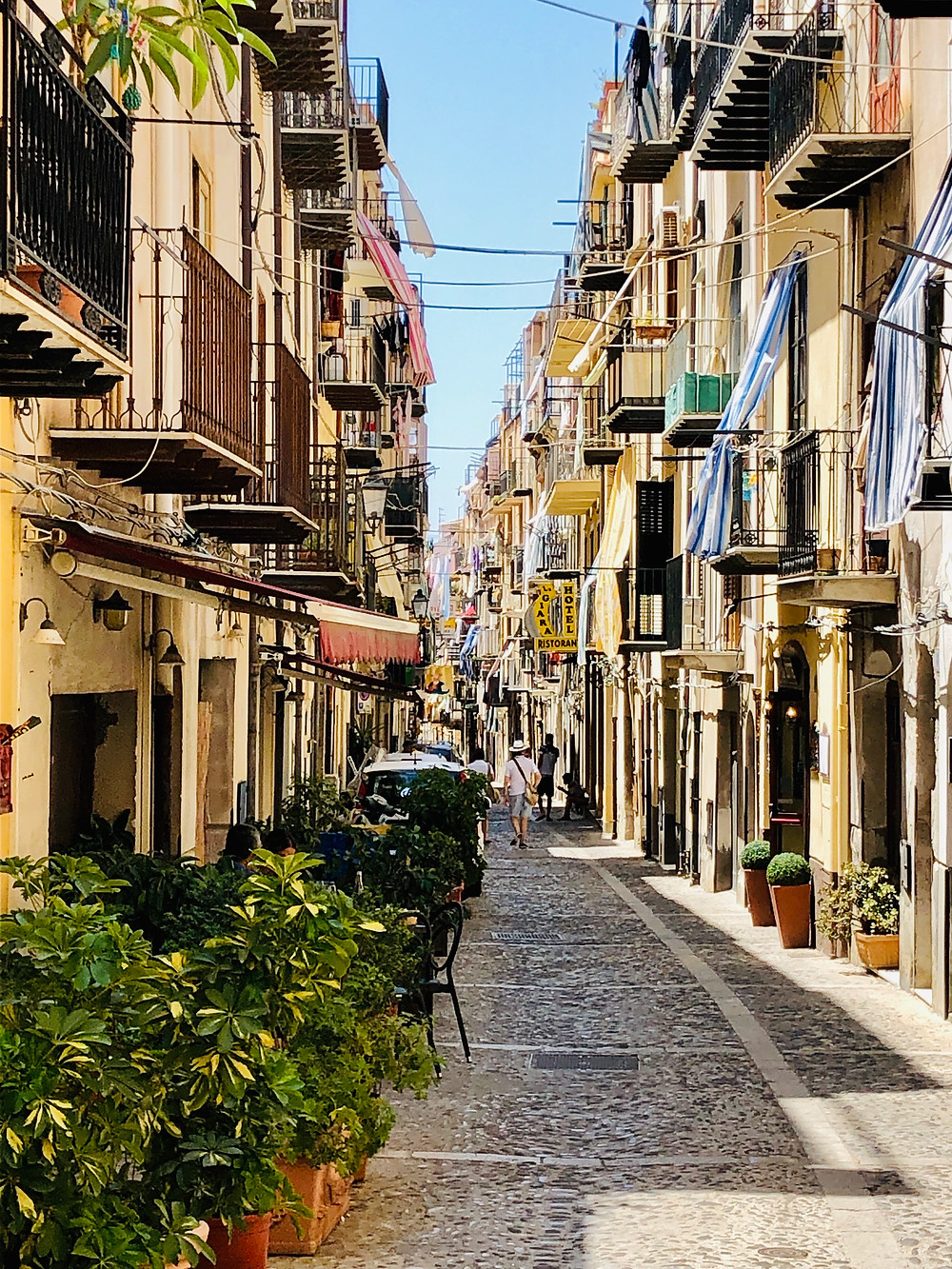 Charming Italian street in Cefalu Sicily