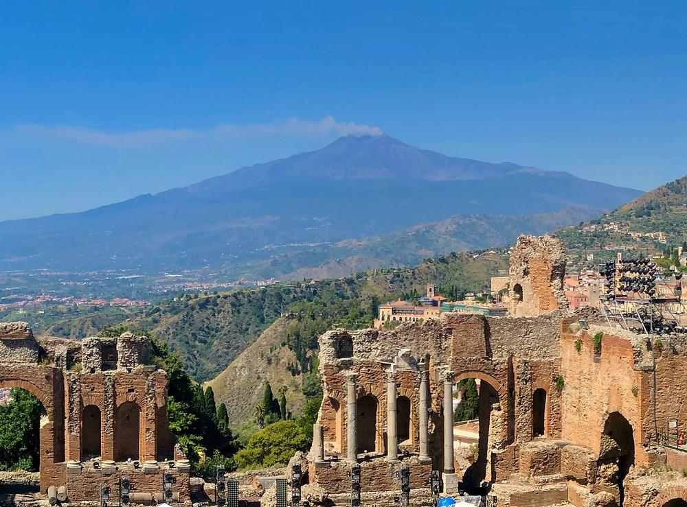 Taormina Sicily Amphitheatre and Mt. Etna