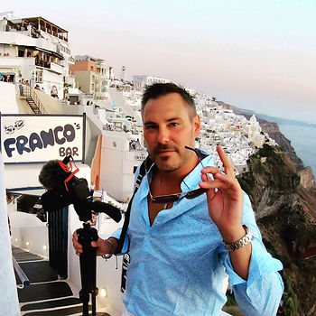 Euro Trotter at Franco's Bar in Santorini Greece