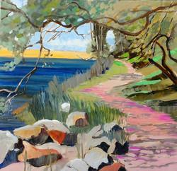 Lake path oil on canvas 54x54cm $500