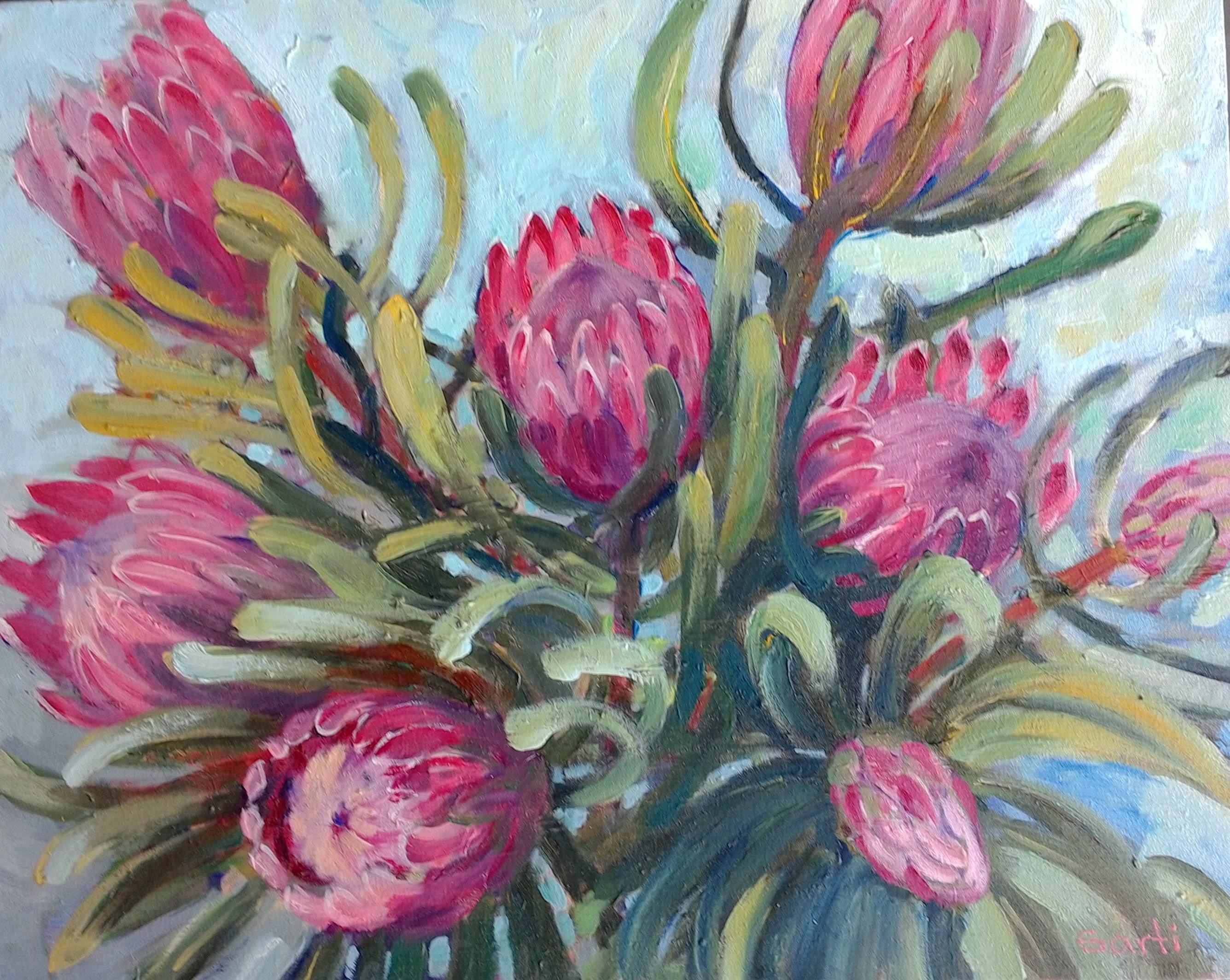 Protea oil on canvas 51x41cm $400.