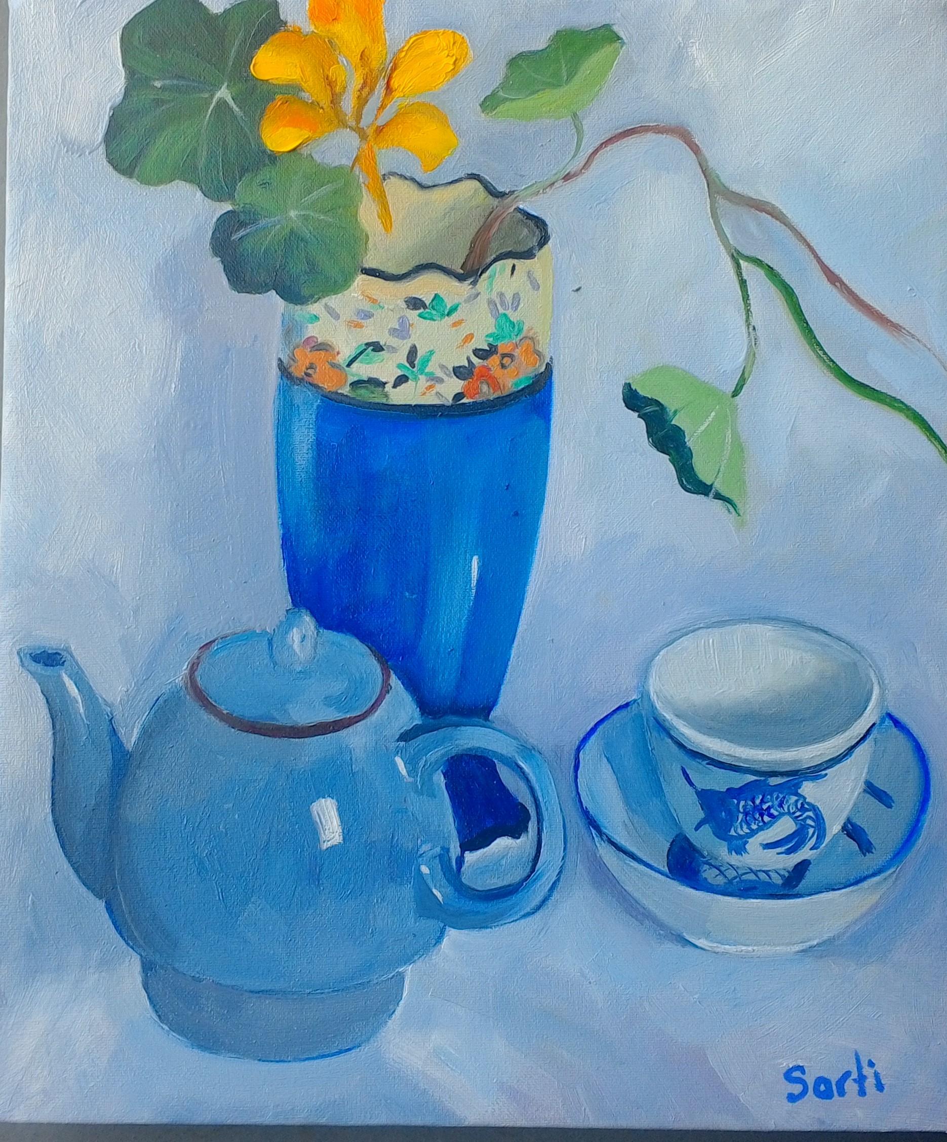 .blue vase 31x36cm $300