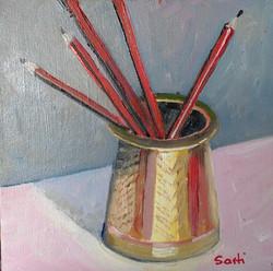 Pencils oil on canvas 20x20 $200.jpg