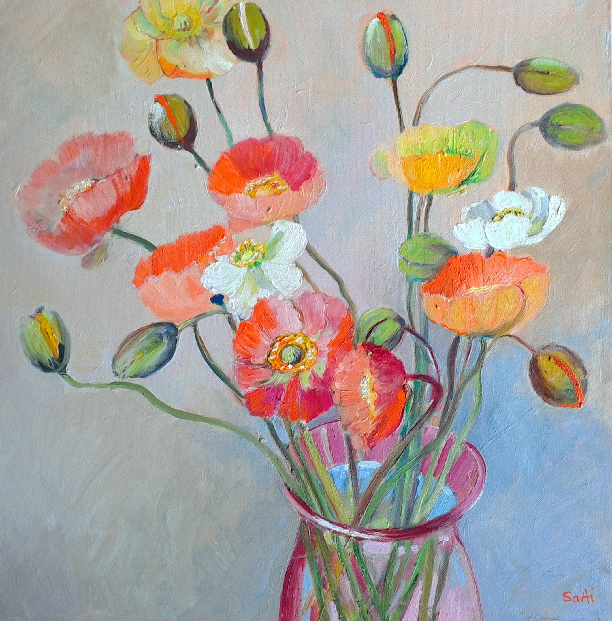 Poppies oil on canvas 54x54cm $500.