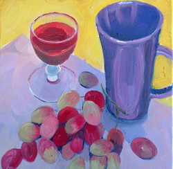 Mug shots mauve oil on canvas 25x25 $300