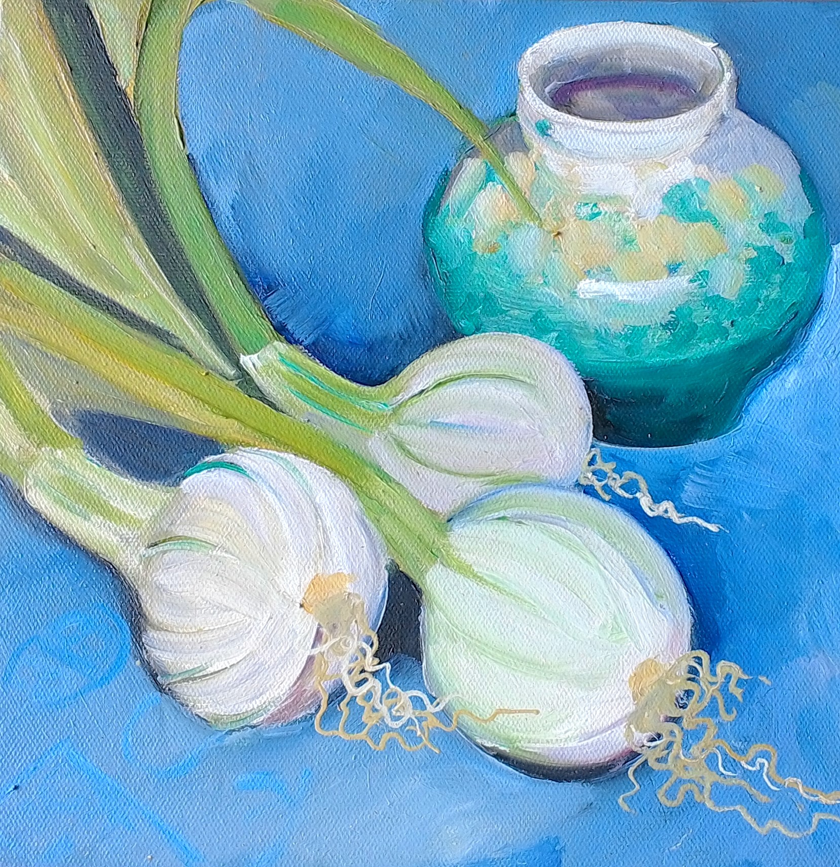 Spring Onions (oil on canvas 25x25cm) $300