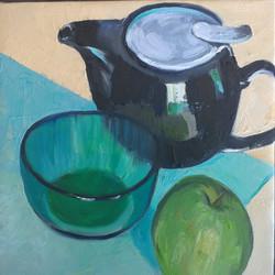 Tea pot green oil on canvas 25x25cm $300