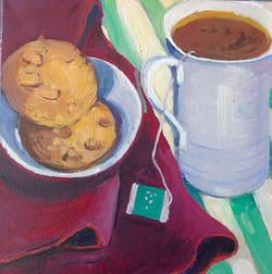 .Tea time oiloncanvas 24x24cm
