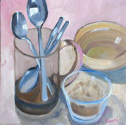 Brown sugar oil on canvas 25x25cm $300.j