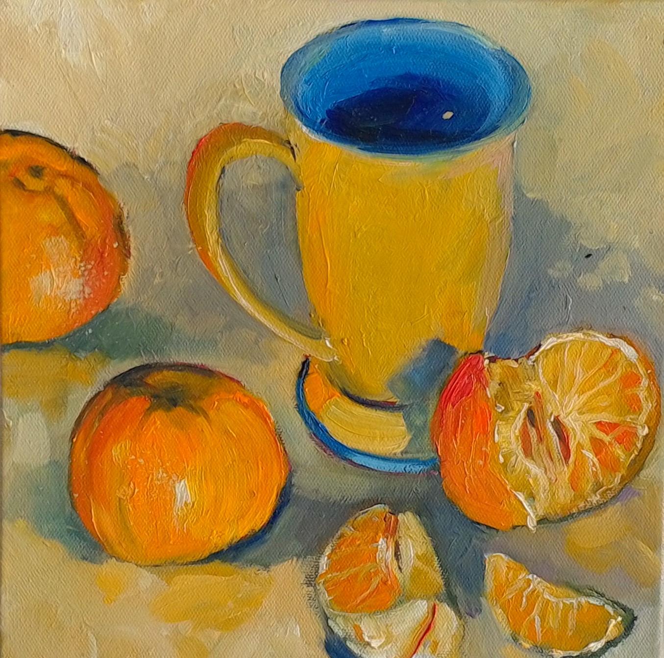 Mugshots orange oil on canvas 25x25cm $300