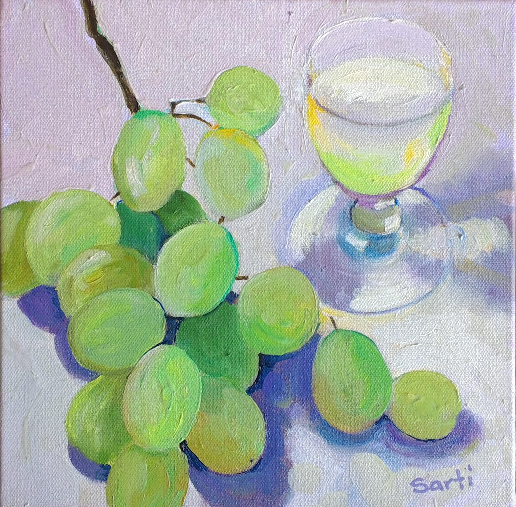 White wine oil on canvas 25x25cm $300.jp