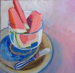 Watermelon oil on canvas 25x25cm $300.jp