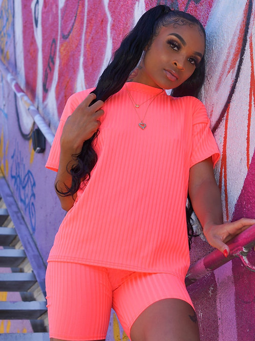 Coral Ribbed Two Piece