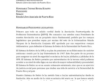 Carta a los presidentes Legislativos para que reten el veto de la Gobernadora al RC 655