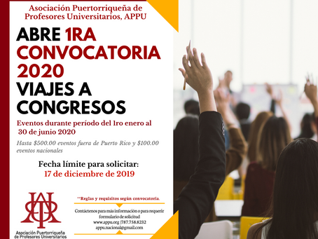 Primera Convocatoria 2020 a viajes a Congresos