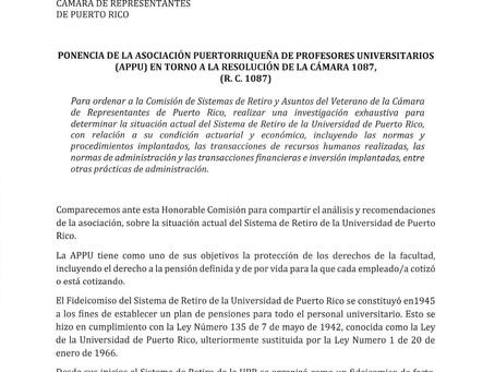 Ponencia de la APPU ante la Cámara  sobre la situación del Sistema de Retiro de la UPR
