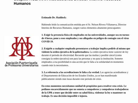 Carta del Presidente de la APPU para el Presidente de la UPR