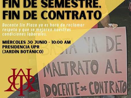 Fin de semestre, fin de contrato:La historia que se repite para la Docencia Sin Plaza