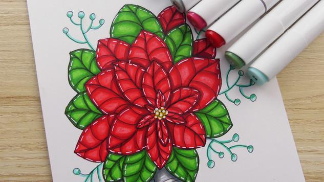 Poinsettia Marker Illustration