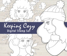 Keeping Cozy Girls Digital Stamps