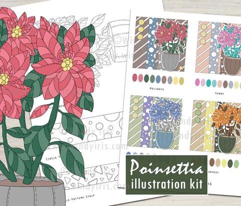 Poinsettia Illustration Kit