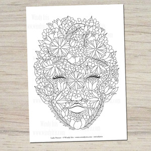 Lady Nature Coloring Page