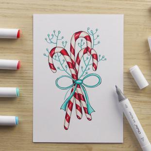 Candy Cane Marker Illustration