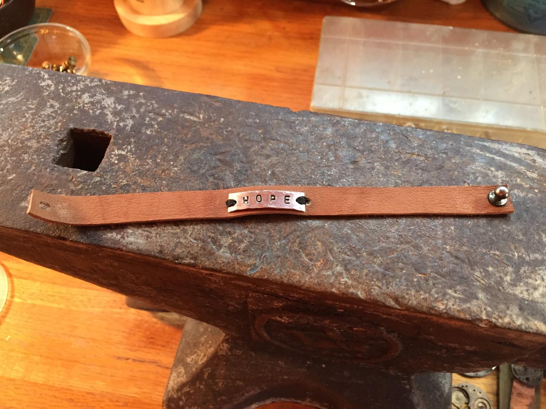 """Hope"" leather bracelet"