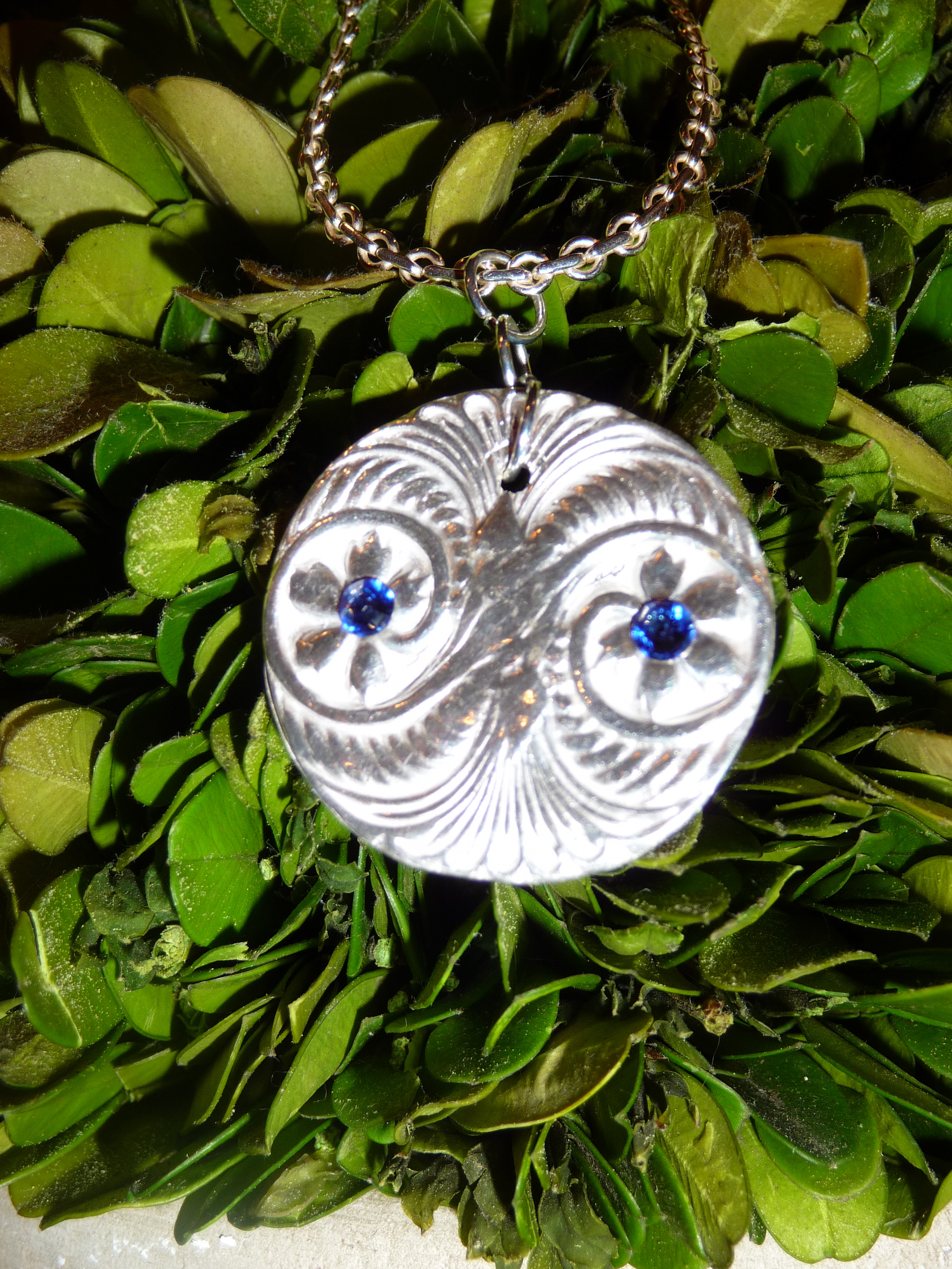 Custom silver pendant with crystals
